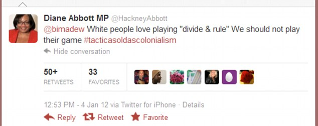 Diane Abbot's insensitive tweet (screencap)