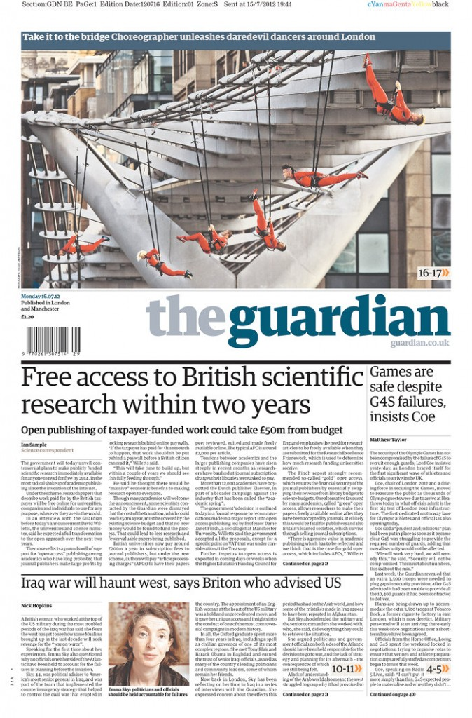 Guardian front page 16th July 2012