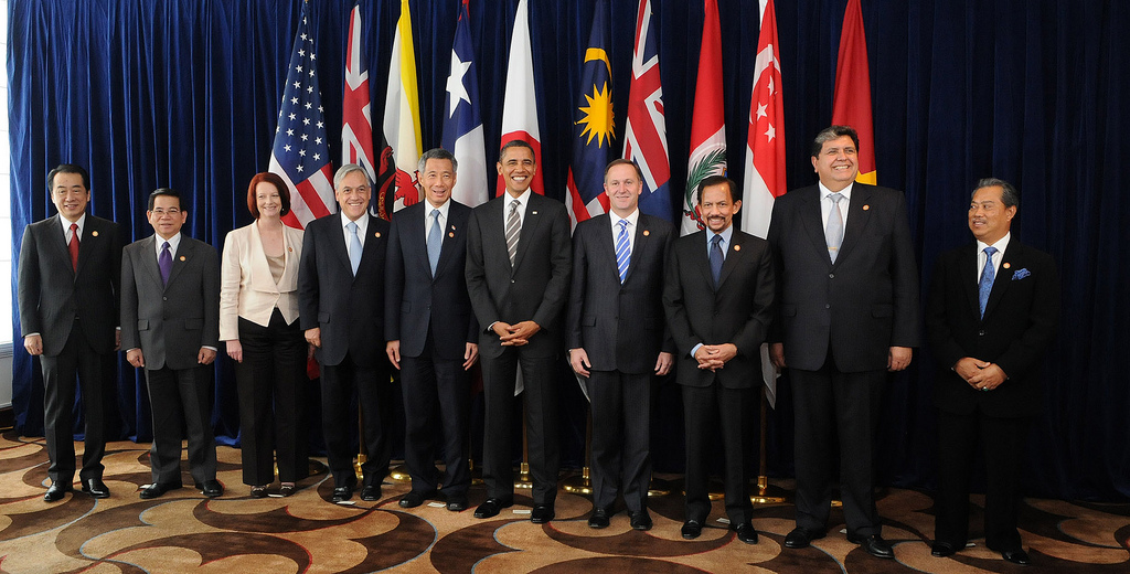Leaders of the 9 states involved in the TPPA