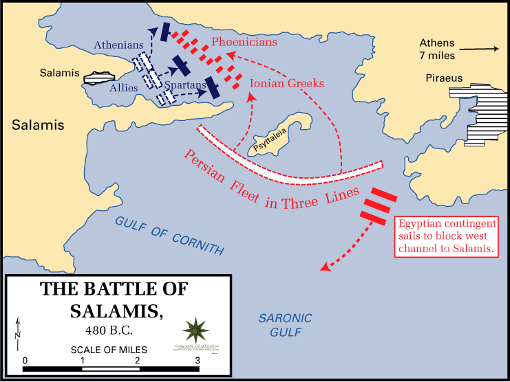 Battle of Salamis - map courtesy of Wikipedia