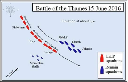 Naval battle of the Thames. A skirmish in the great Brexit debate of 2016.