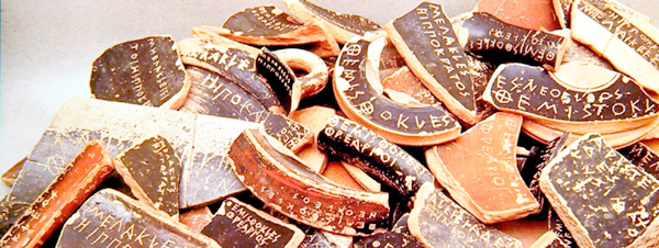 Potsherds (ostraca) with politicians' names, used in ancient Athenian ostracism votes.