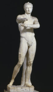 Marble copy of a bronze athlete statue by Lysippus. The original may well have stood in Olympia (NOT Pulydamas!).