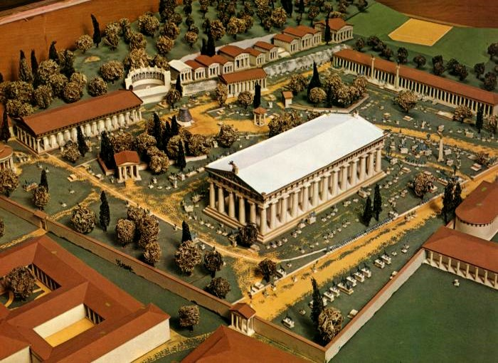 Model of the ancient sanctuary of Olympia, as Pausanias saw it, including some monuments to give an impression (there would have been many more!)