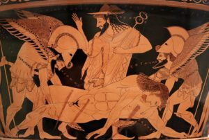 Sleep and Death carry away the dead Sarpedon, with Hermes watching over them. Sixth century Attic crater by Euphronius.