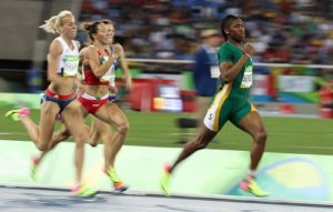 Caster Semenya of South Africa, qualifying for the 800m final, Rio 2016.