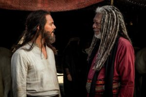 Morgan Freeman as Sheik Ilderim, with Jack Huston as Judah Ben-Hur.